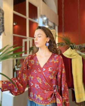 Blusa incrociata in seta colore - Barbara