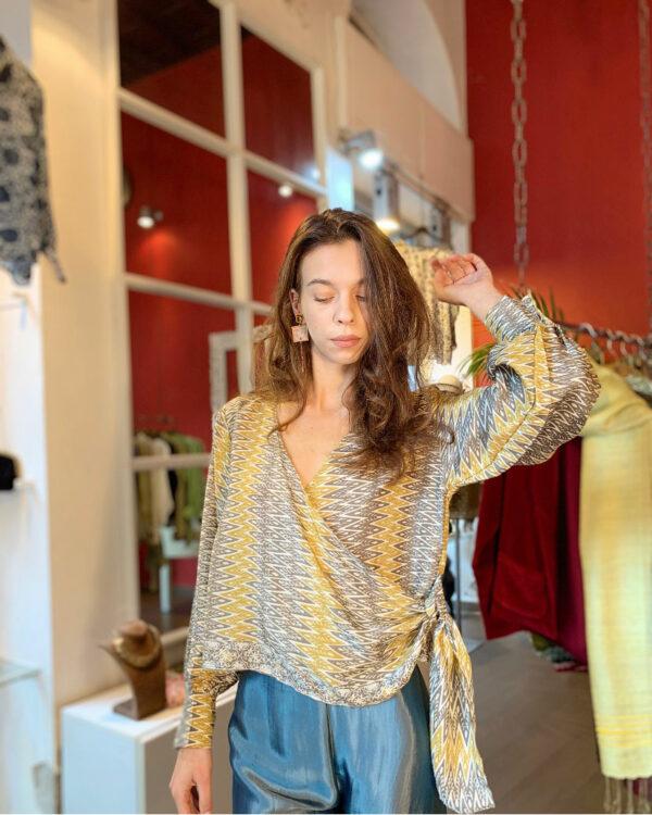 Blusa incrociata in seta - Barbara